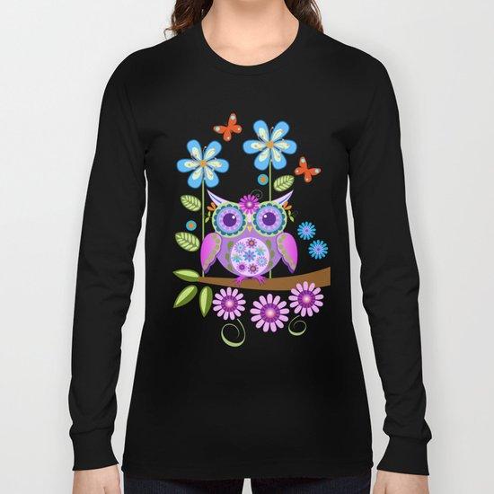 Flower power owls in a summer environment Long Sleeve T-shirt