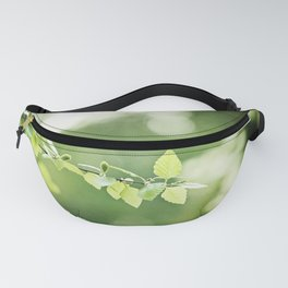 Green Nature Leaf Photography, Tree Branch, Dark Green Leaves Art, Botanical Branches Photo Fanny Pack