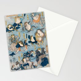 Old Vintage Samurai Frogs Illustration Stationery Cards