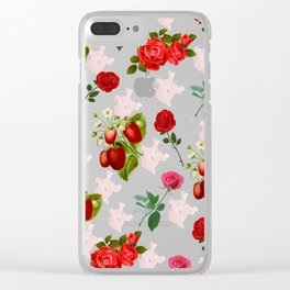 Roses and Strawberry Pattern Clear iPhone Case