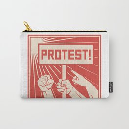 protest design - lots of furious people (man holding transparent, demonstrations) Carry-All Pouch