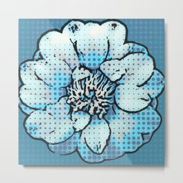 Altered Art Blue Dot Flower Special Digital Effect Metal Print