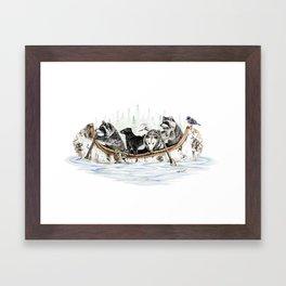 """"""" Critter Canoe """" wildlife rowing up river Framed Art Print"""