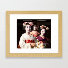 Yasaka Shrine Geisha Framed Art Print