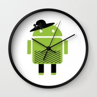 android Wall Clocks featuring girl android by Grazemee
