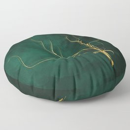 Kintsugi Emerald #green #gold #kintsugi #japan #marble #watercolor #abstract Floor Pillow