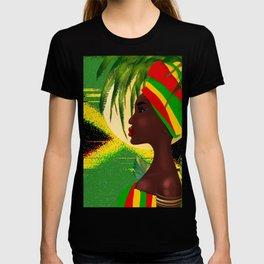 Jamaican woman,sunset art T-shirt