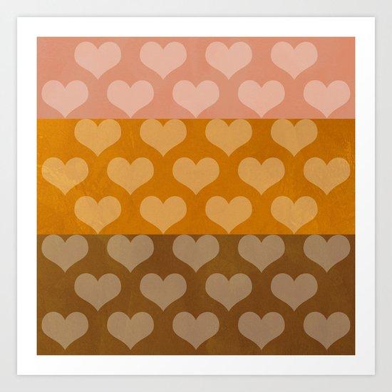 Patina Hearts Rose Gold Art Print