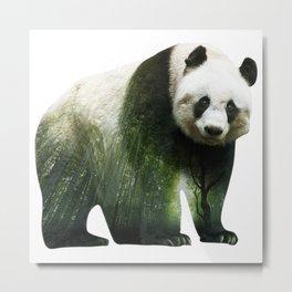 Panda | Bamboo Double Exposure Metal Print
