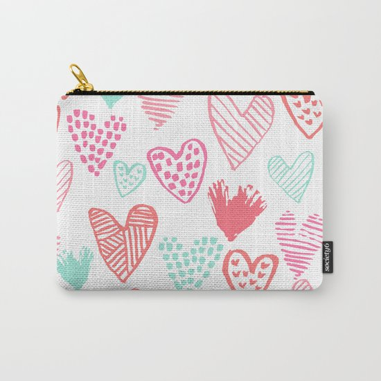 Hearts hand drawn heart pattern valentines day love gifts home decor hipster girls Carry-All Pouch