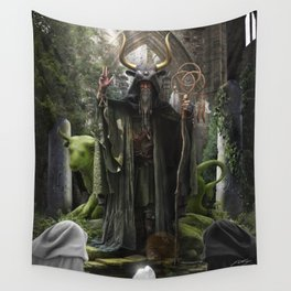 V. The Hierophant Tarot Card Illustration (Color) Wall Tapestry