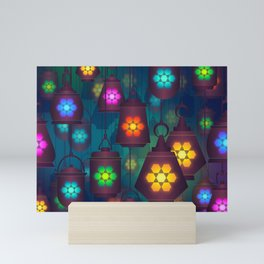Colorful Lanterns Pattern Mini Art Print