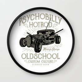 Psychobilly Hot Rod Vintage Garage Wall Clock