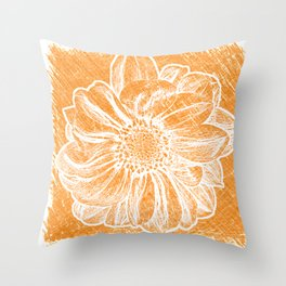 White Flower On Warm Orange Crayon Throw Pillow