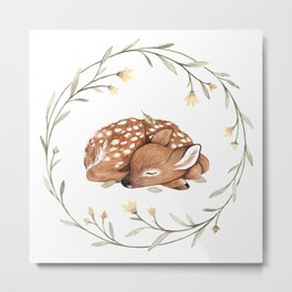 Wildflower Fawn Metal Print