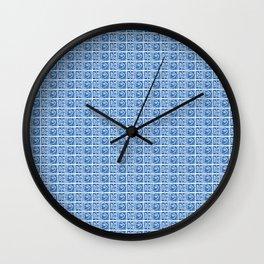 Blue Fish Block Print Wall Clock