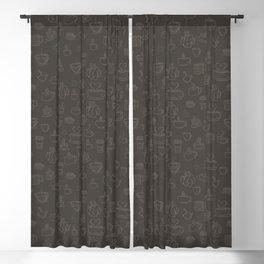 Sketchy Coffee and Tea Mugs on a Brown Background! Blackout Curtain