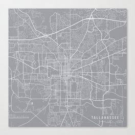 Tallahassee Map, Florida USA - Pewter Canvas Print