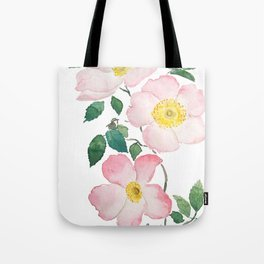 pink rosa rubiginosa watercolor Tote Bag