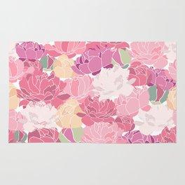 peonies flower floral roes pink flowering Rug
