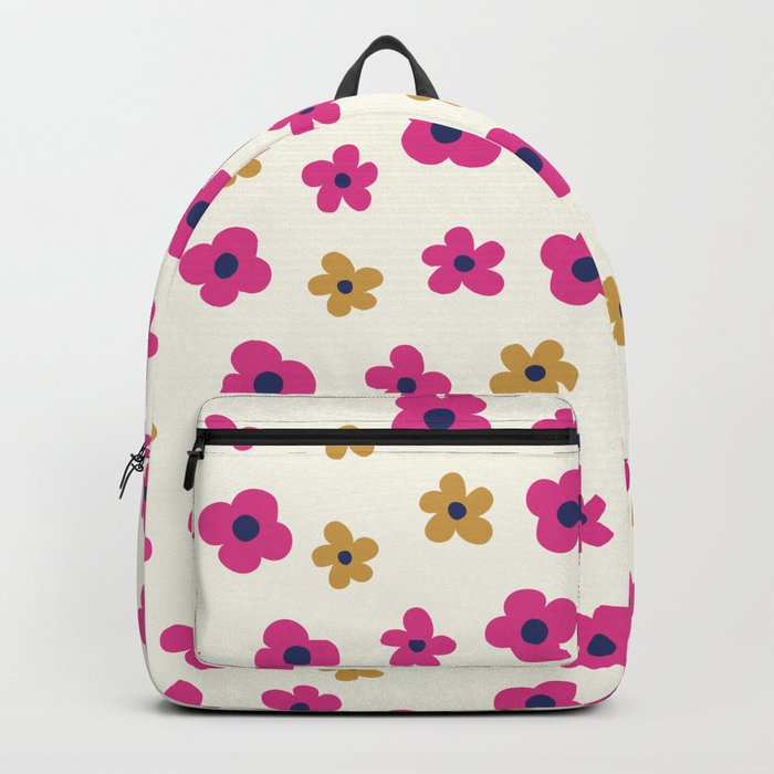 Pink and Gold Little Flower Pattern Backpack