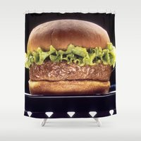 hamburger Shower Curtains featuring Juicy Hamburger by BravuraMedia