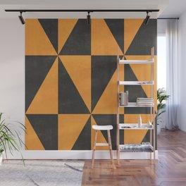 Geometric Triangle Pattern - Yellow, Gray Wall Mural