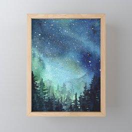 Galaxy Watercolor Aurora Borealis Painting Framed Mini Art Print