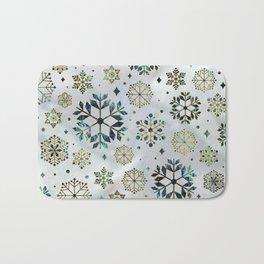 Festive Golden Abalone Shell Snowflake pattern Bath Mat