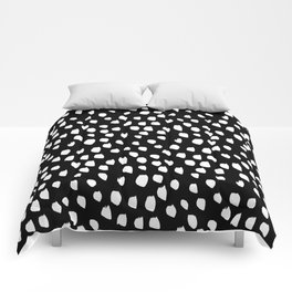 Handdrawn drops and dots on black - Mix & Match with Simplicty of life Comforters