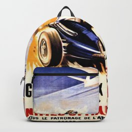 1947 Grand Prix Automobile verses plane vintage advertisement wall art Backpack