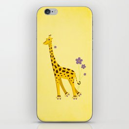 Funny Roller Skating Giraffe In Yellow iPhone Skin