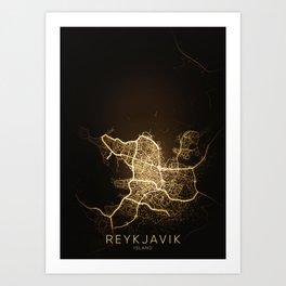 reykjavik Iceland city night light map Art Print