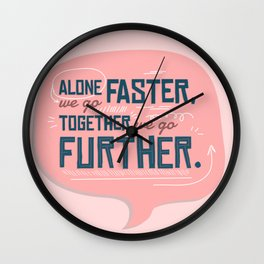 Together Stronger - Positivity Typography Wall Clock