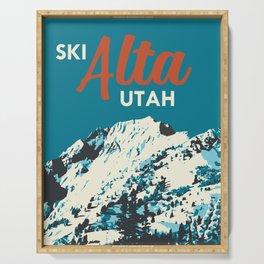 Ski Alta Utah Vintage Ski Poster Serving Tray