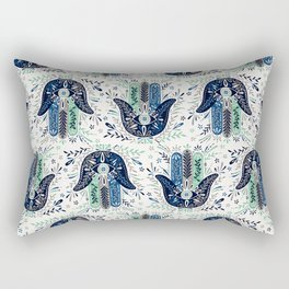 Hamsa Hand – Navy Palette Rectangular Pillow