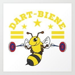 A cute and unique illustration of a bee with dart board and an Arrow Dart Board Arrows Stripe Yellow Art Print