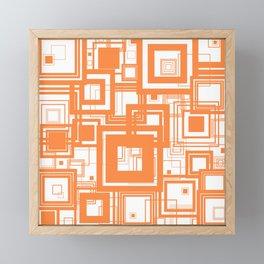 Mid Century Modern Muted Orange 1970s Style Retro Geometric Squares Framed Mini Art Print