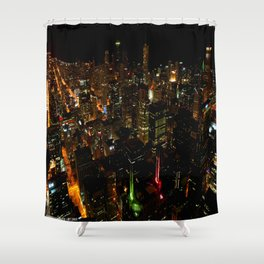 Night Skyline from Skydeck #1 (Chicago Architecture Collection) Shower Curtain