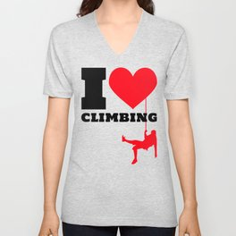 I love Climbing - Funny Climber Gift Unisex V-Neck