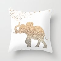 elephant Throw Pillows featuring ELEPHANT by Monika Strigel