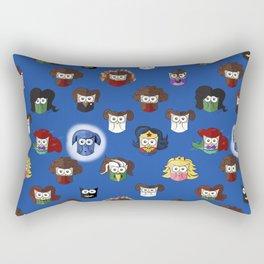 Nerd Girl (Owls) - Blue Rectangular Pillow