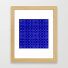 Rich Earth Blue Interlocking Square Pattern Framed Art Print