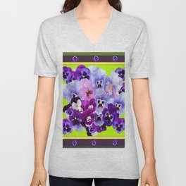 SPRING COLLECTION PURPLE-PINK PANSIES DESIGN Unisex V-Neck