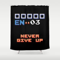 metroid Shower Curtains featuring Never Give Up - Metroid by Matt Tichenor