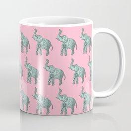 Boho Elephant In Pink And Mint Green, Zentangle. Coffee Mug