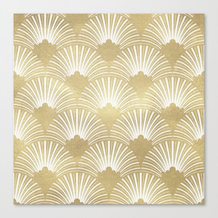Gold foil look Art-Deco pattern Canvas Print by artonwear | Society6
