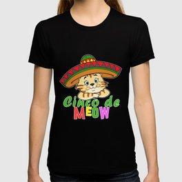 Cute Cinco De Meow Funny Cat Design T-shirt