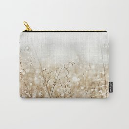Dewdrop Nature Photography, Neutral Dew Drop, Gold White Brown Beige, Cream Water Drops Carry-All Pouch