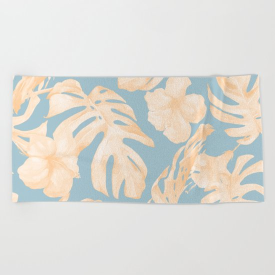 Island Vacation Hibiscus Palm Coral Sky Blue Beach Towel